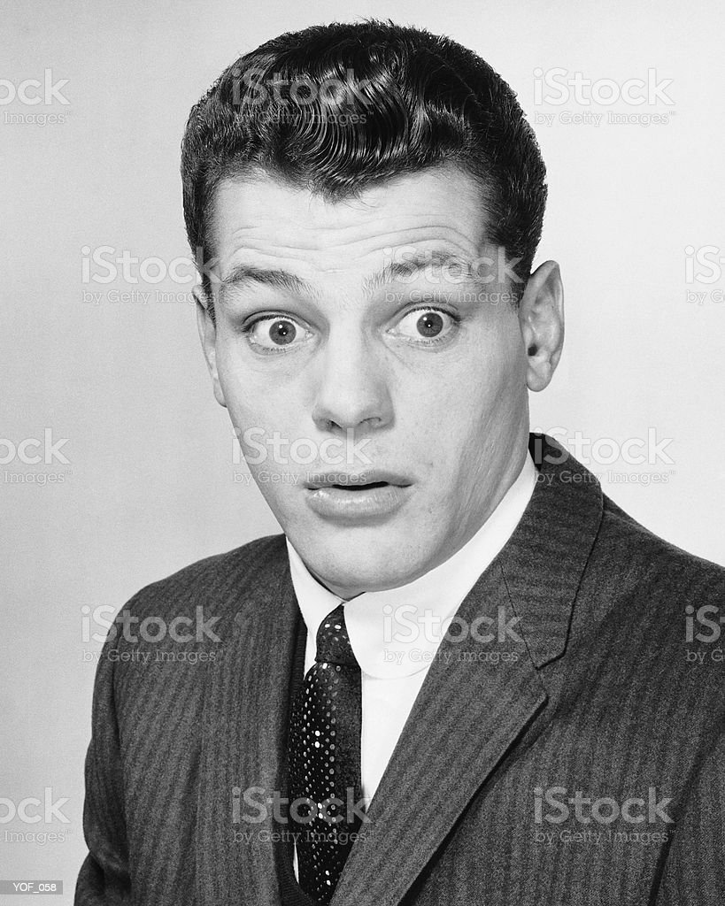 Man with surprised expression royalty-free stock photo