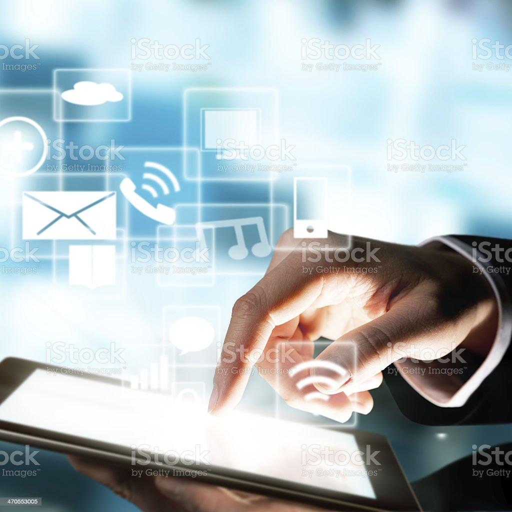 Man with tablet computer touching screen royalty-free stock photo