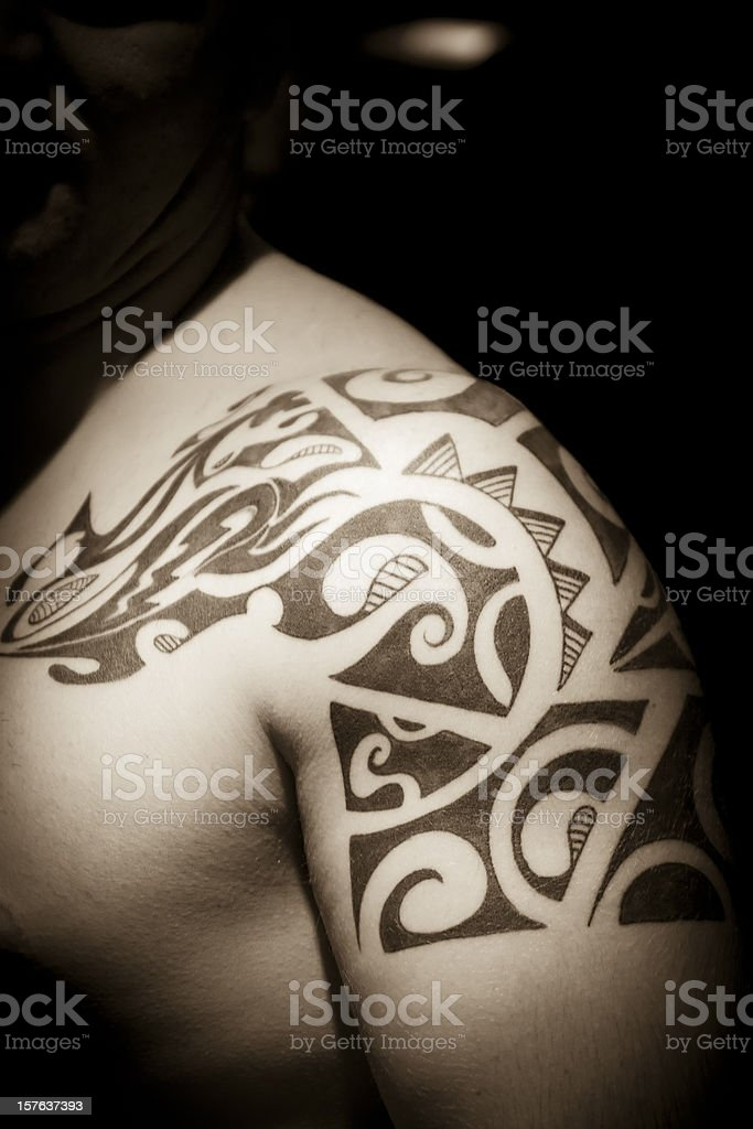 Man with tatoo stock photo