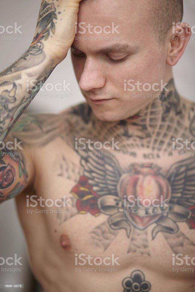 man with tatoo royalty-free stock photo