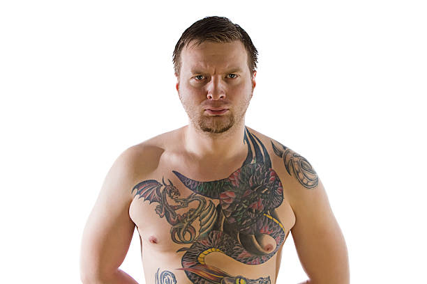 mann mit tattooes - tribal tattoos stock-fotos und bilder