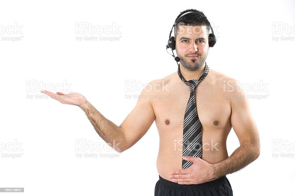 Mann mit Telefon-headset – Foto