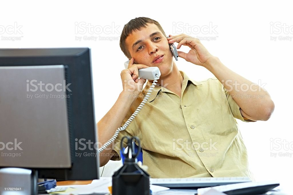 man with telephone royalty-free stock photo