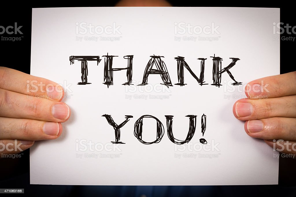 Man with Thank You sign stock photo