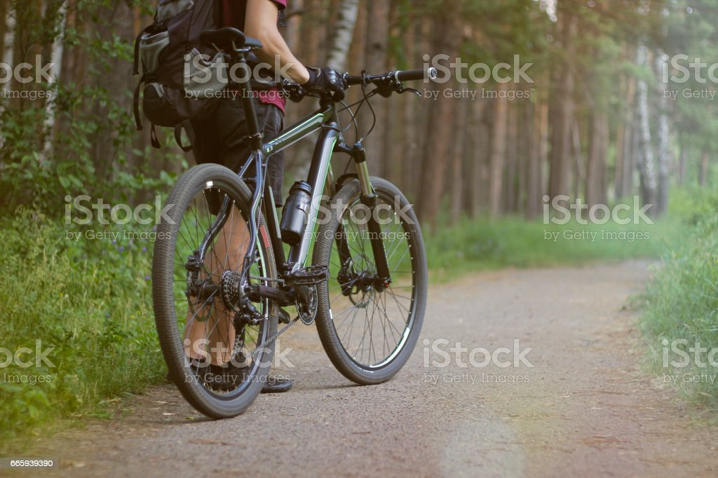 Man with the bike in the woods foto stock royalty-free