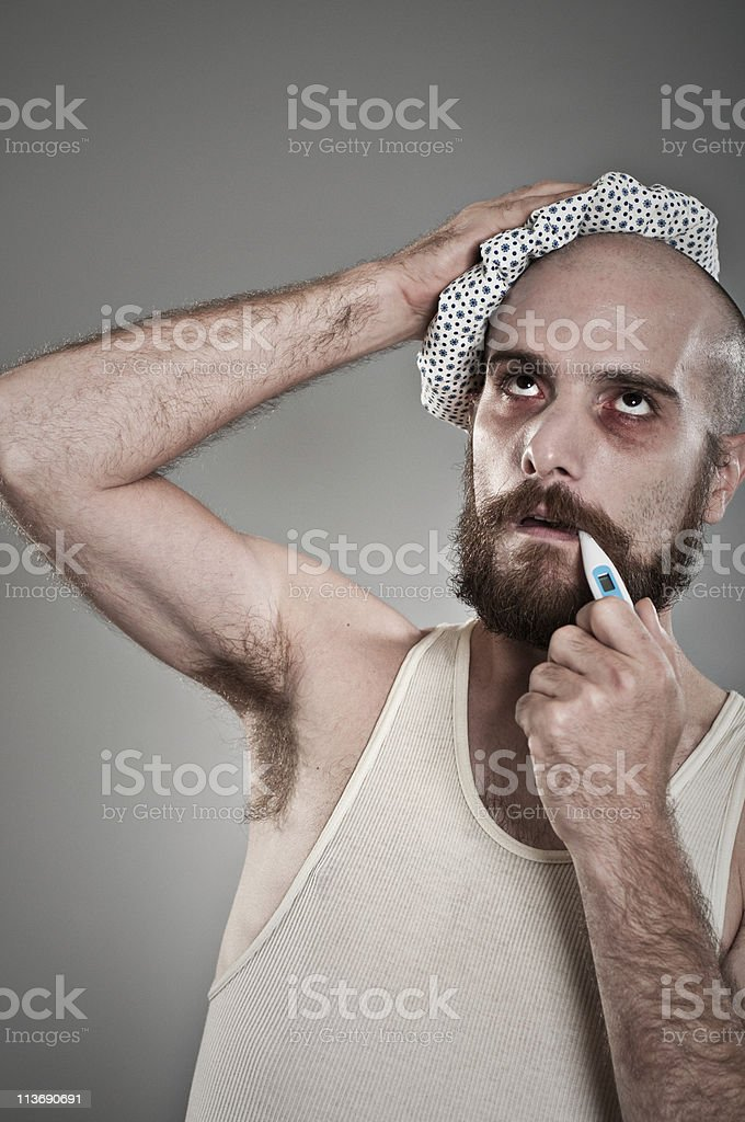 Man With The Flu Looking Very Ill royalty-free stock photo