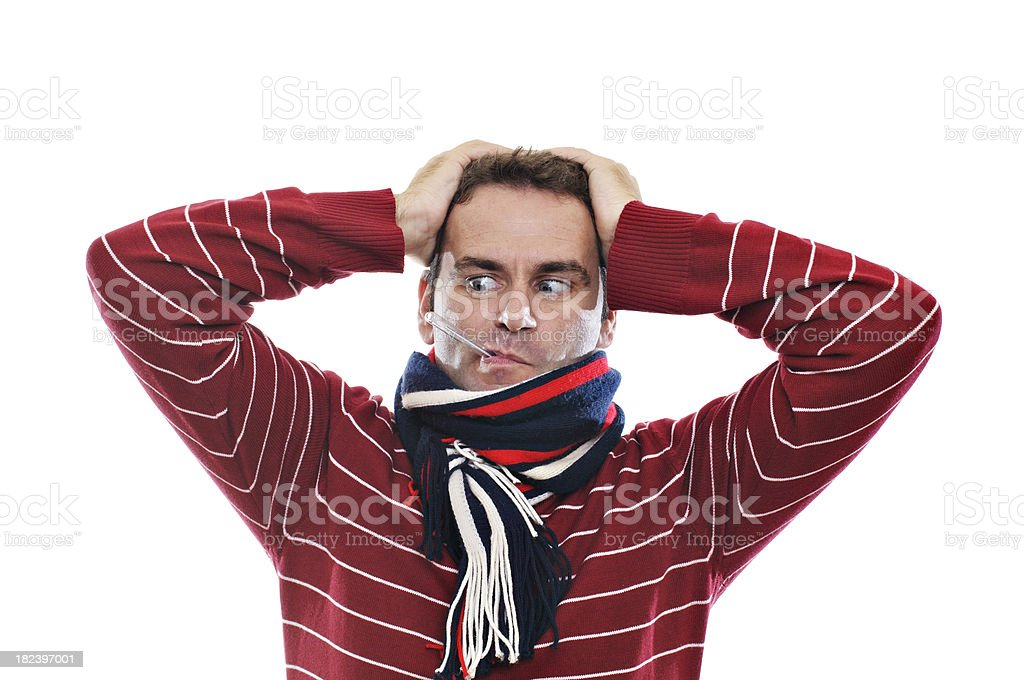 Man with thermometer in his mouth stock photo