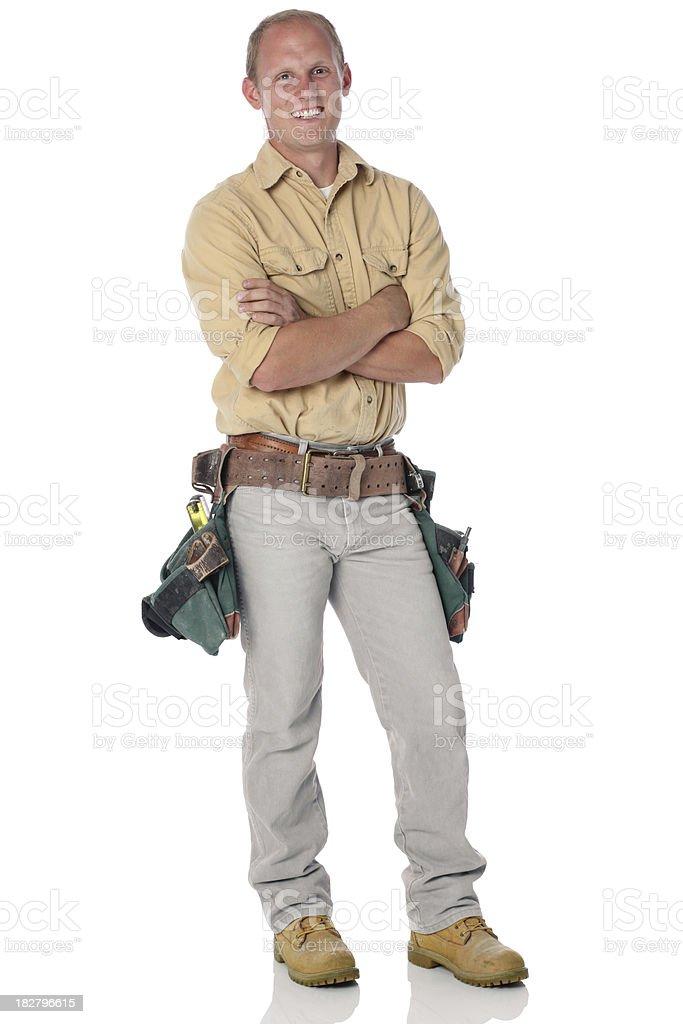 Man with tool belt stock photo