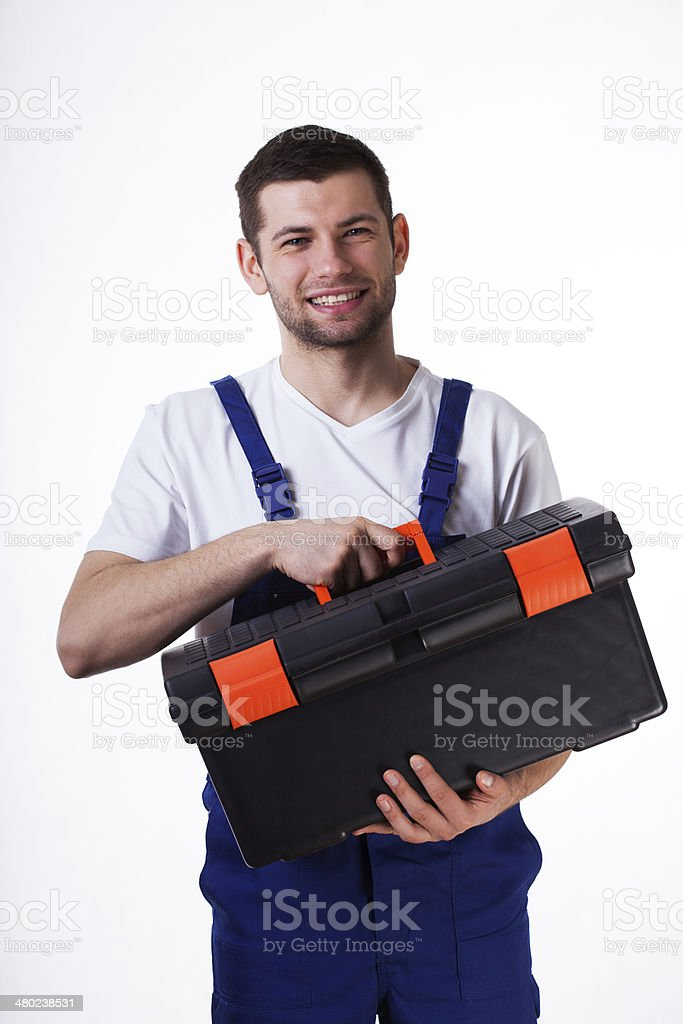Man with toolbox royalty-free stock photo