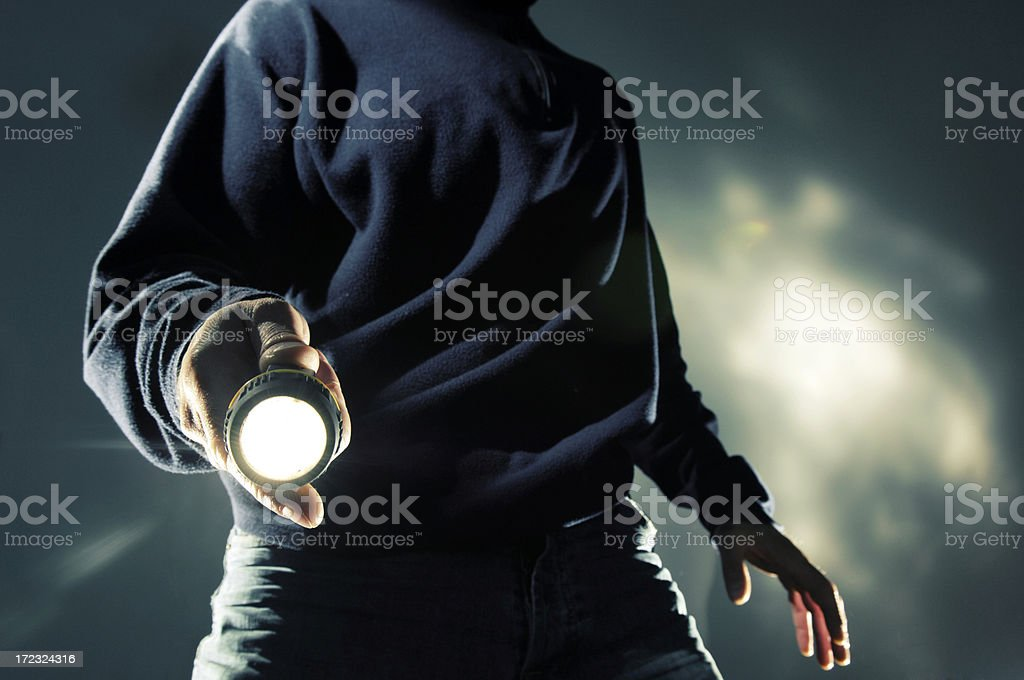 man with torch at night royalty-free stock photo