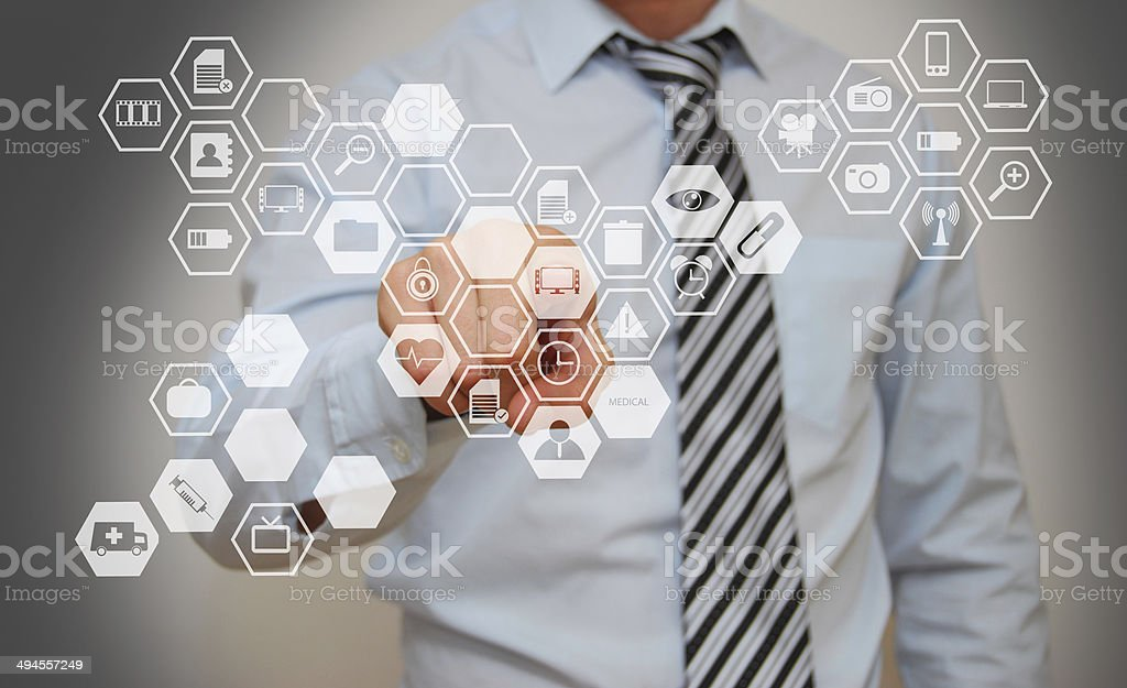 Man with Touchscreen stock photo