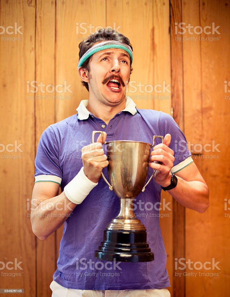 Man with trophy stock photo