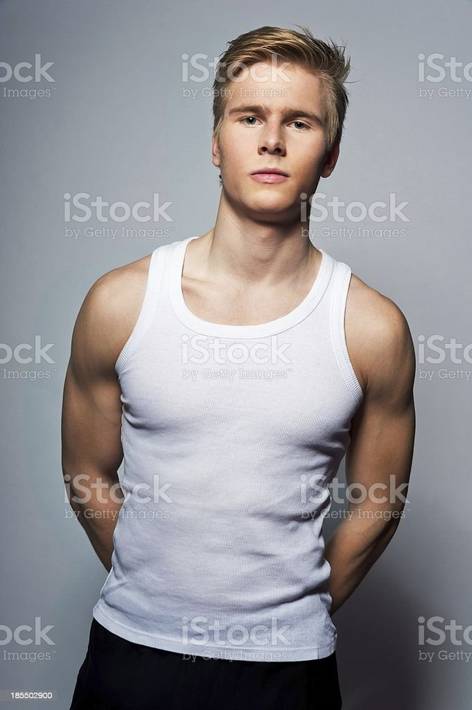 man with t-shirt stock photo