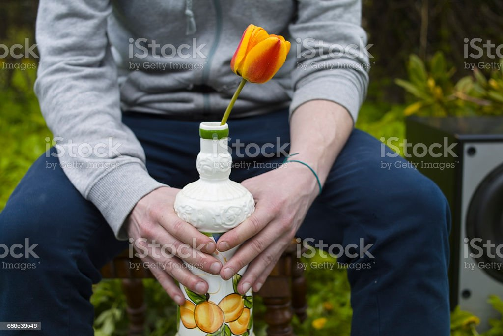 Man With Tulip foto stock royalty-free