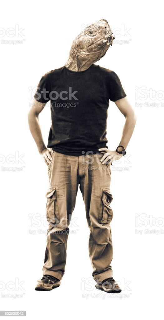Man with Turtle Face stock photo