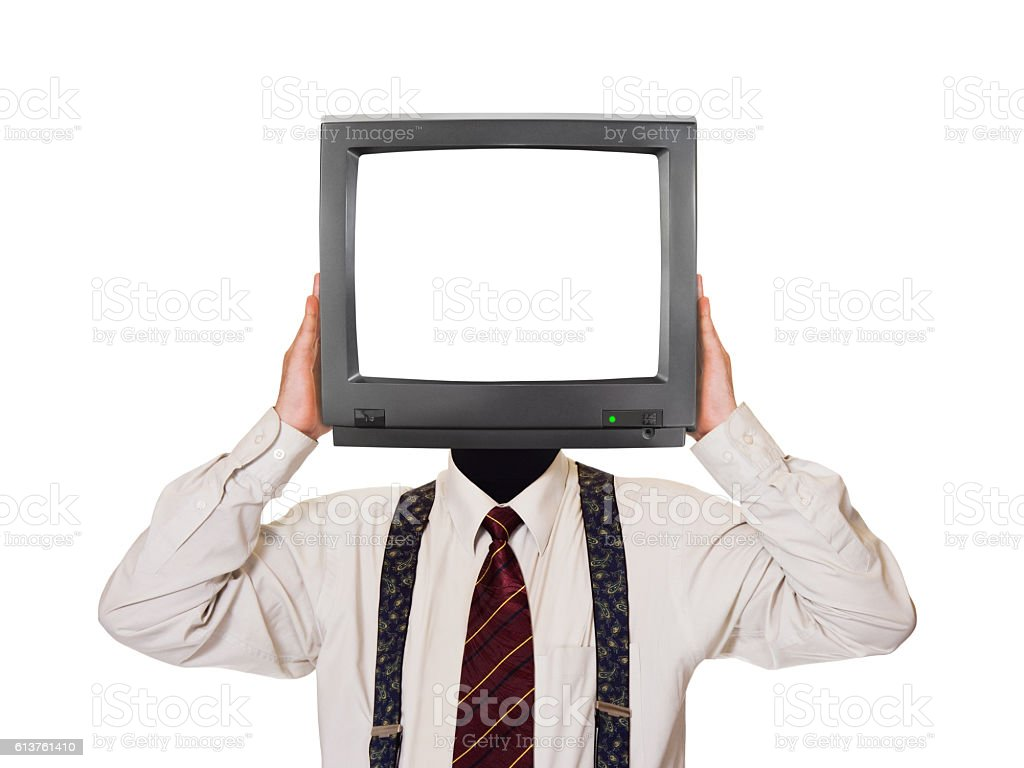 Man with tv screen for head stock photo
