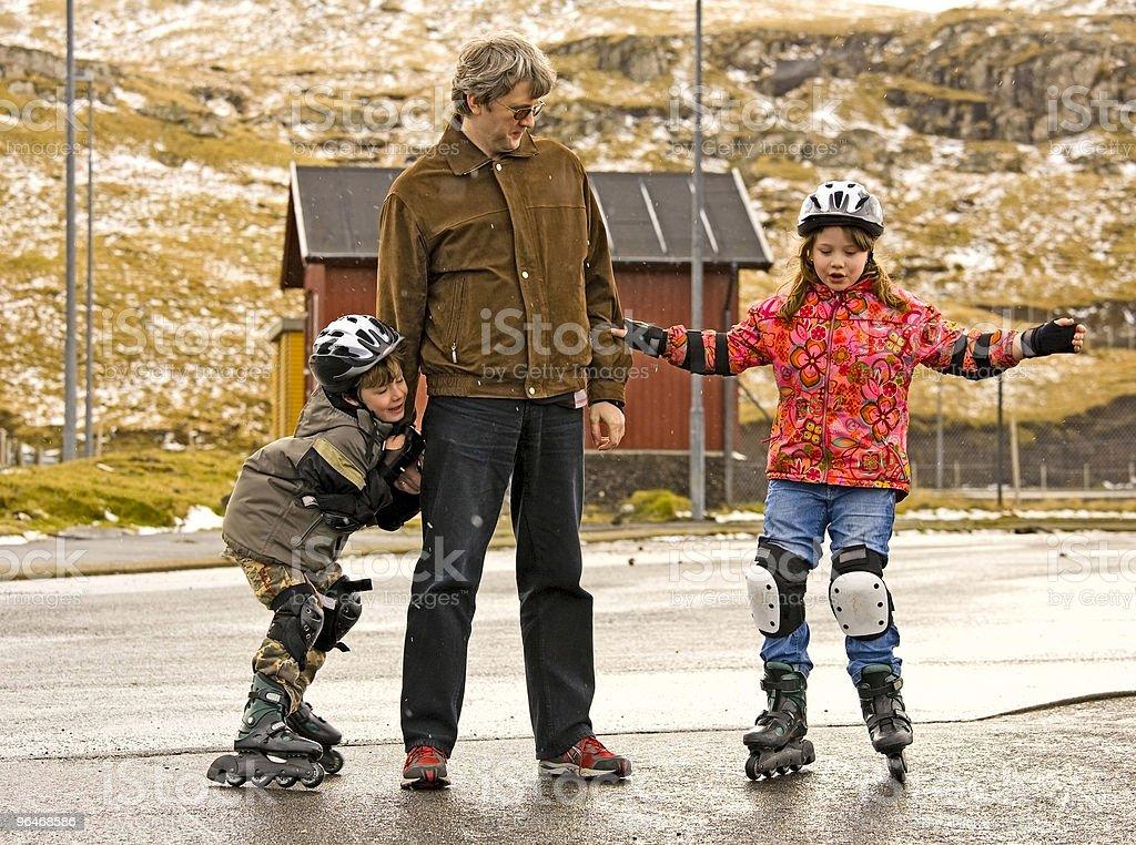 Man with two children royalty-free stock photo