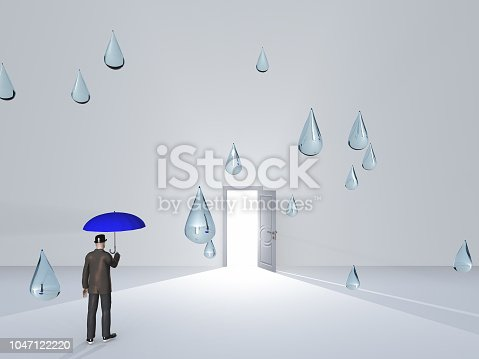 922736714 istock photo Man with umbrella and water droplets in white room 1047122220