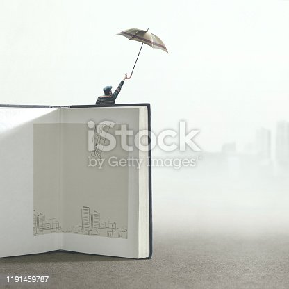 man with umbrella flying out of a illustrated book; surreal concept