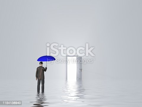 922736714 istock photo Man with umbrella in pure white room 1154138940