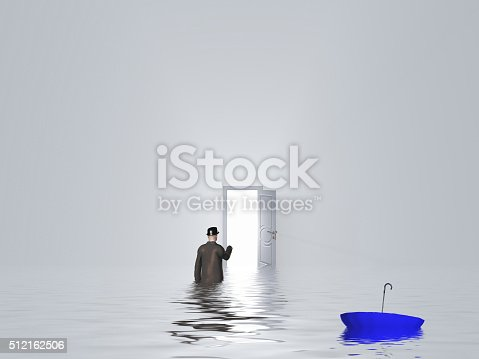 922736714 istock photo Man with umbrella in pure white room 512162506