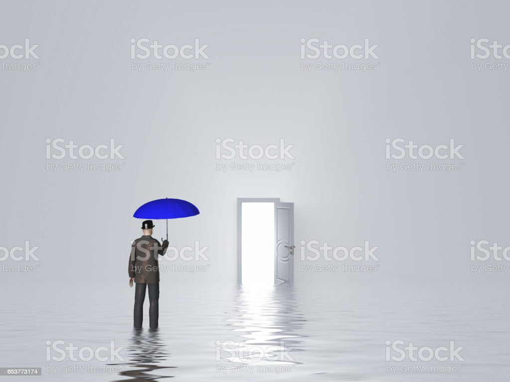 Man with umbrella in pure white room stock photo