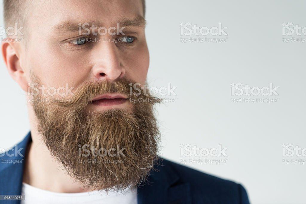 Homme avec vintage moustache et barbe isolé sur fond clair - Photo de A la mode libre de droits