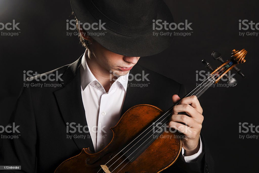 Man with violin royalty-free stock photo