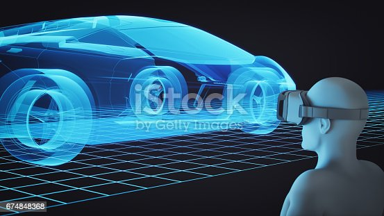 istock 3D Man With Virtual Reality Headset Looking At Car Model 674848368