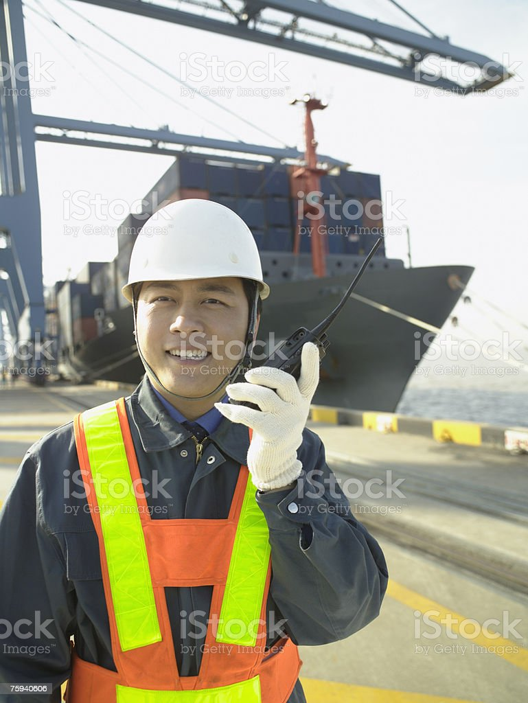 Man with walkie talkie royalty-free stock photo