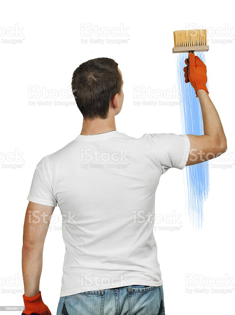 man with wallpaper brush royalty-free stock photo