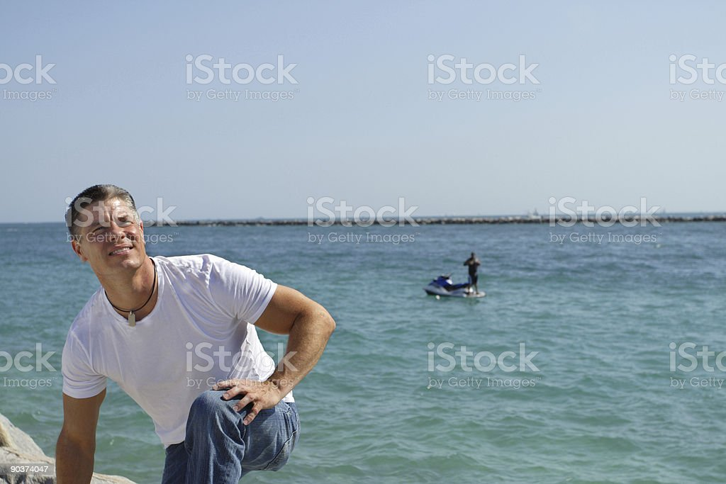 Man With Waverunner in The Water royalty-free stock photo