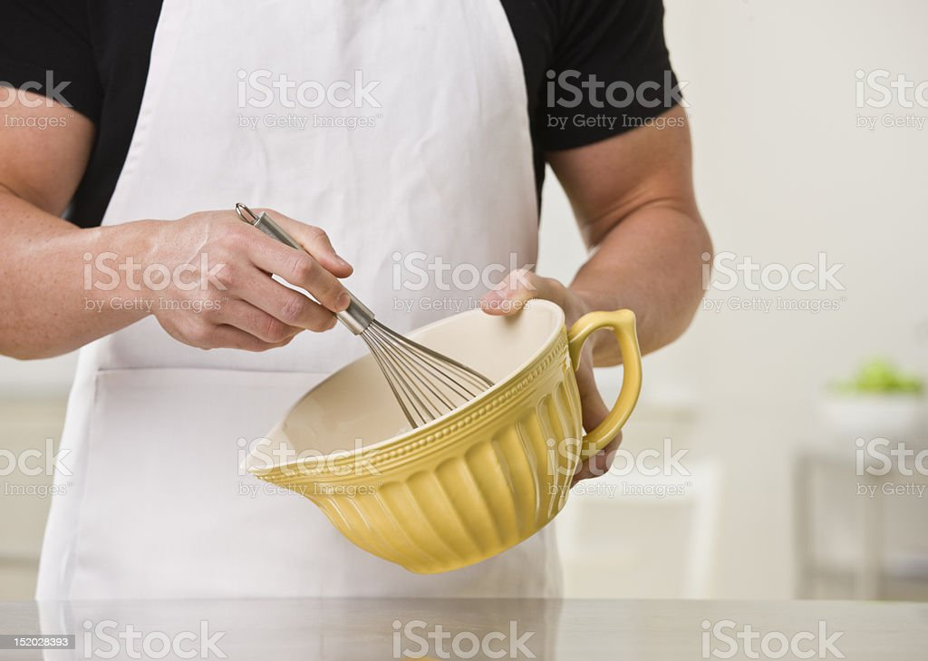 Man With Whisk and Bowl stock photo