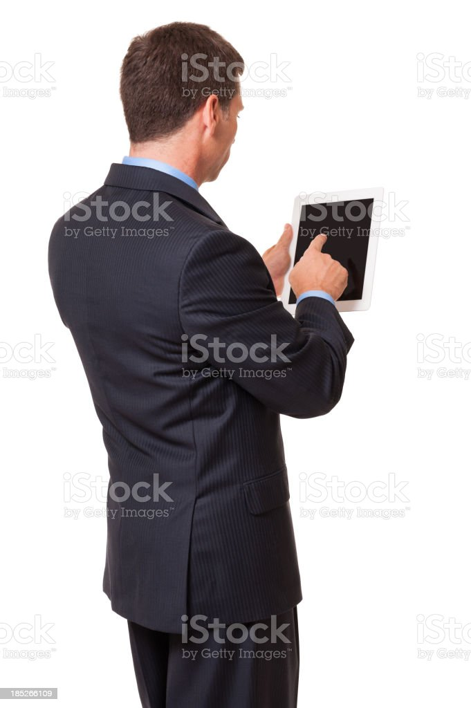 Man with white framed tablet on a white background royalty-free stock photo