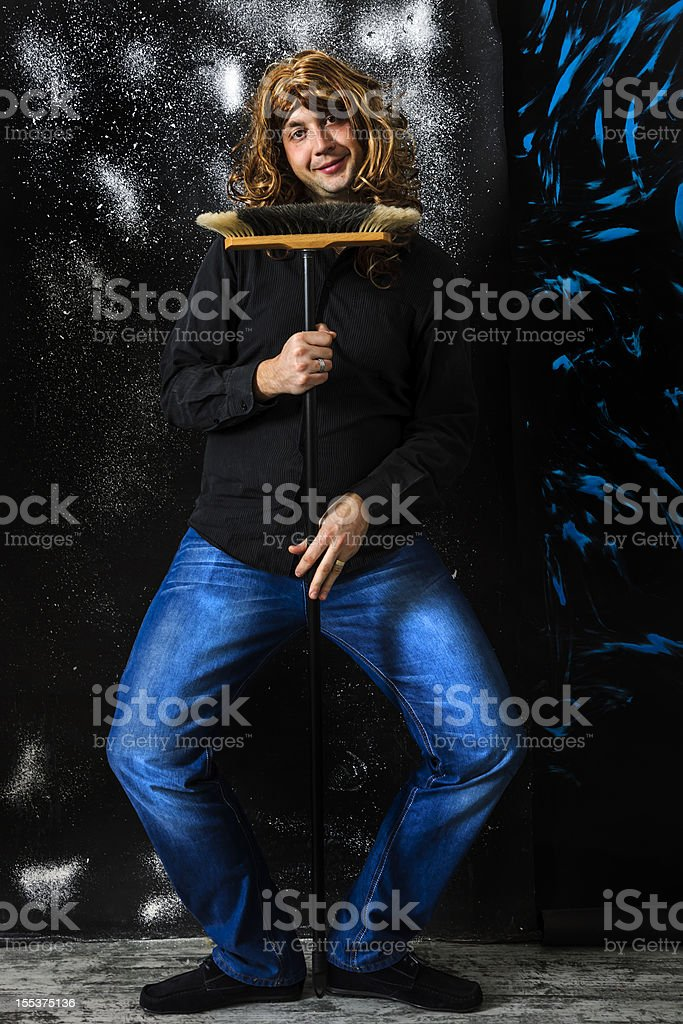 man with wig royalty-free stock photo