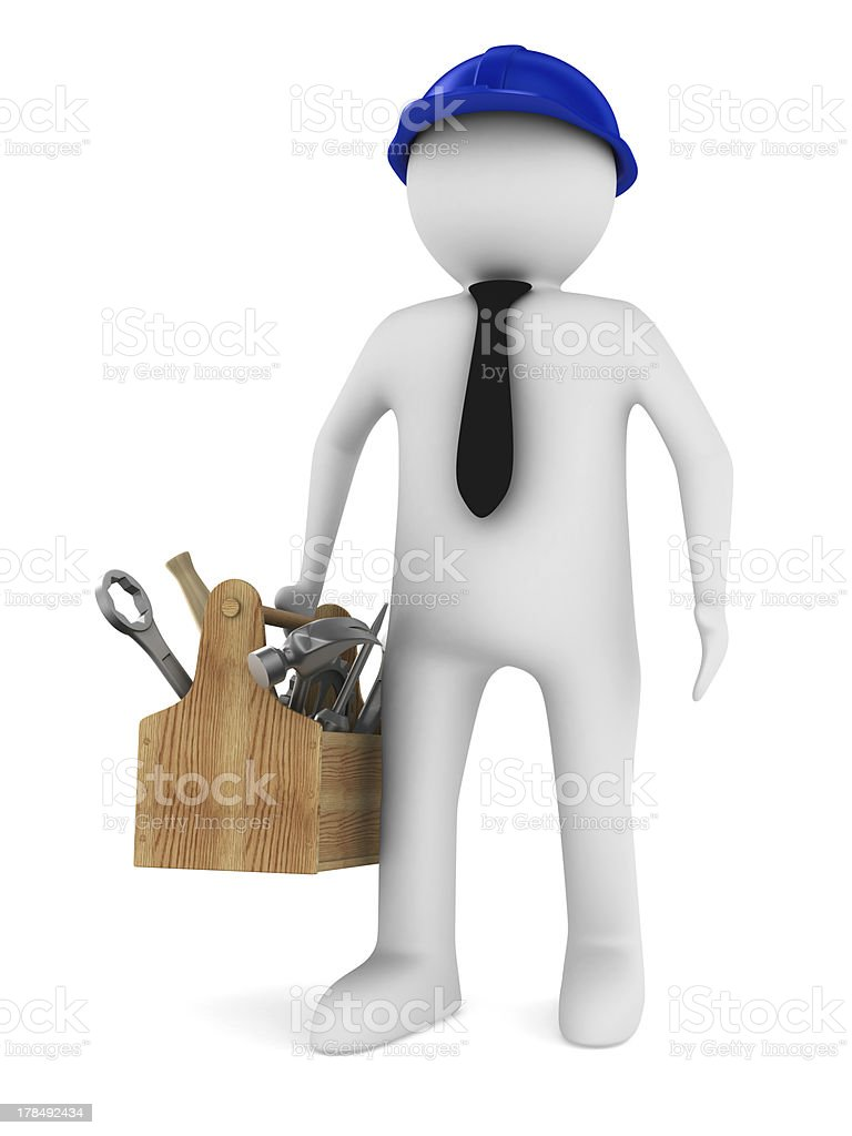 Man with wooden toolbox. Isolated 3D image royalty-free stock photo