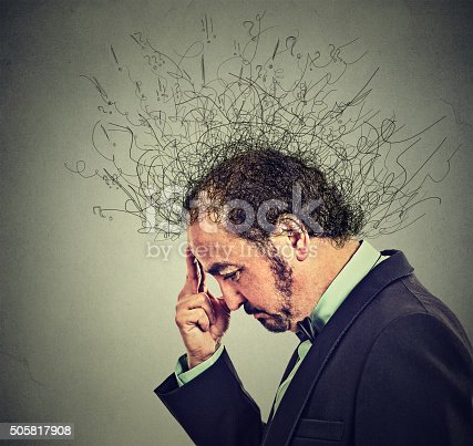 istock man with worried stressed face brain melting into lines 505817908