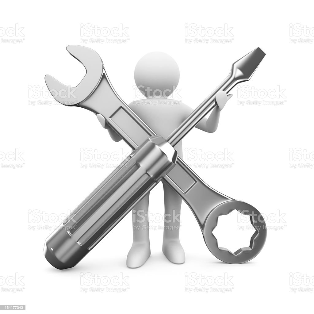 Man with wrench and screwdriver. Isolated 3D image royalty-free stock photo