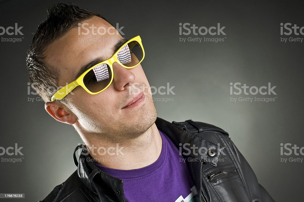 man with yellow sunglasses royalty-free stock photo