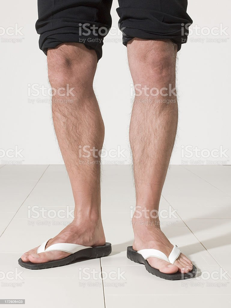 man wolking with flip flop stock photo