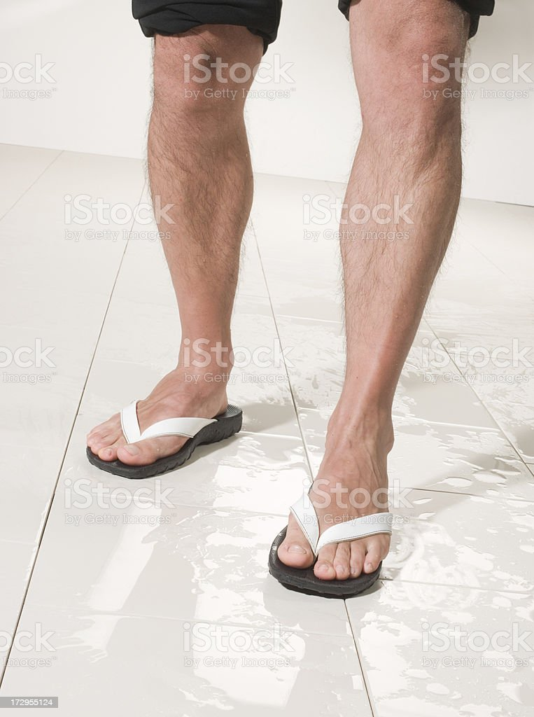 man wolking with flip flop royalty-free stock photo