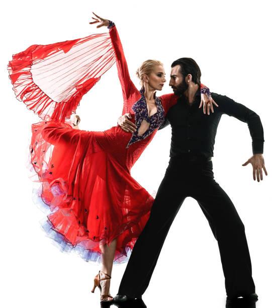 man woman couple ballroom tango salsa dancer dancing silhouette - tango taniec zdjęcia i obrazy z banku zdjęć