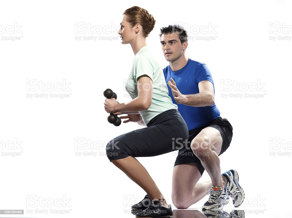 man woman  couple Weight Training Workout Posture exercice stock photo