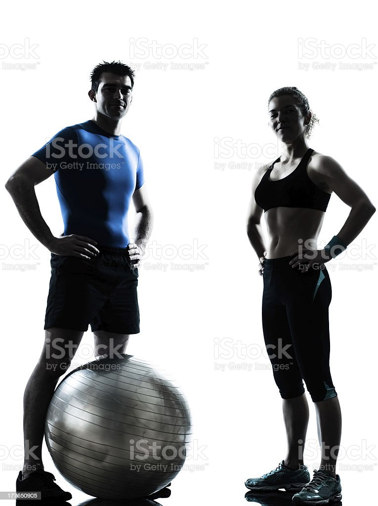 man woman exercising workout fitness ball stock photo