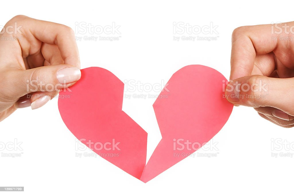 man woman hands holding broken heart royalty-free stock photo