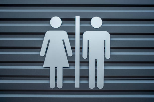 Man & Woman restroom sign, WC directional sign,Toilet sign, - image stock photo