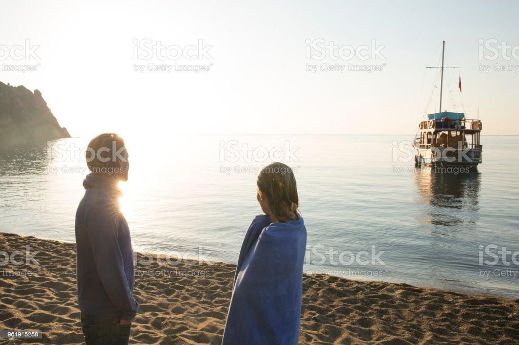 man woman swim sea royalty-free stock photo