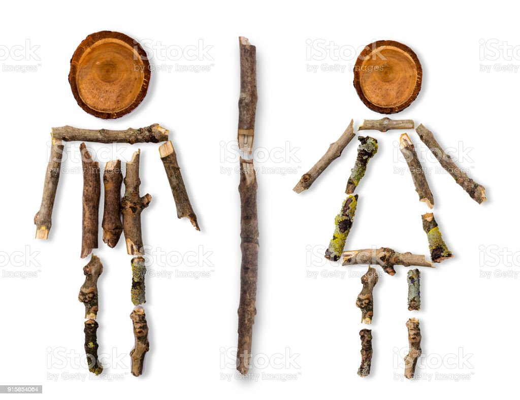 man woman toilet sign  in forest found snapped branches stock photo