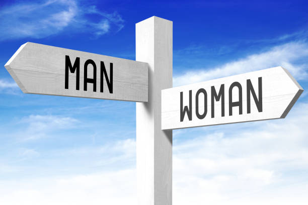 man, woman - wooden signpost - gender stereotypes stock photos and pictures