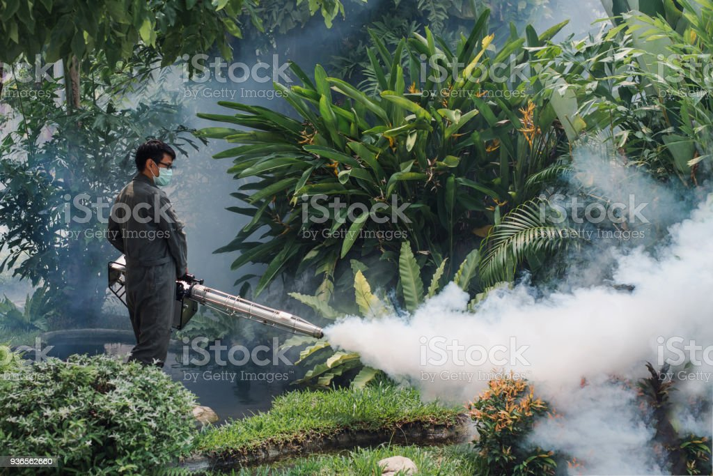 Man work fogging to eliminate mosquito for preventing spread dengue fever and zika virus stock photo